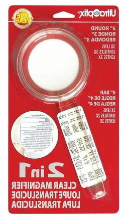 """UltraOptix 2 in 1 Clear Magnifier - 3"""" Round 3X Lens with 4"""""""