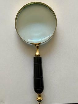 "10"" BRASS MAGNIFYING GLASS HAND HELD - BRASS MAGNIFIER BON"