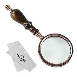 MSLAN 10X Antique Copper Handheld Magnifying Glass with Wood