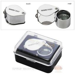 10x Jewelers Magnifying Loupe Metal Chrome Magnifier Doublet