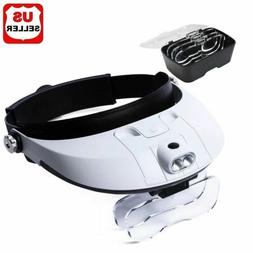 2 LED Headband Headset Head Lamp Light Jeweler Magnifier Mag