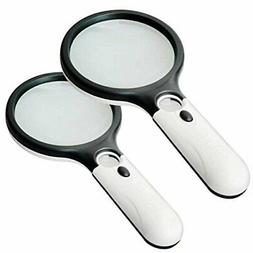 2 Pack Magnifier 3 LED Light Marrywindix 3X 45X Handheld Mag