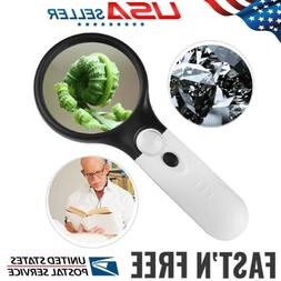 3 LED 45 X Magnifying Glass with Light Handheld Magnifier Ma