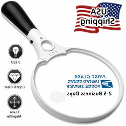 3 LED 25X  3X Handheld Magnifier Reading Magnifying Glass Le