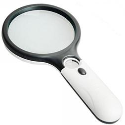 MicroMall 3 LED Light 45X Handheld Magnifier Reading Magnify