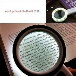 30Times Handheld 12 LED Lighted Magnifier Magnifying Glass f