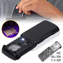 30X 60X 90X UV LED Lighted Magnifier Coin Jewelers Loupe Loo