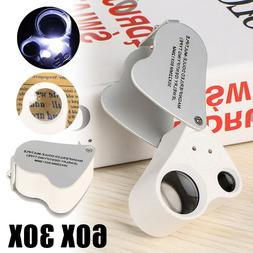 30X & 60X Bright LED Lighted Illuminated Jewelers Eye Loupe