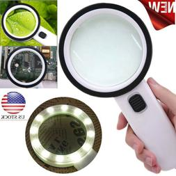 30X High Power Handheld Magnifying Glass LED Light Jumbo Ill