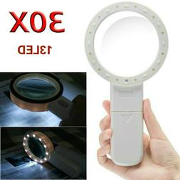30x large magnifier handheld led lighted magnifying