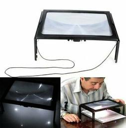 3X Large Hands Free Magnifying Glass W/ LED Light Magnifier