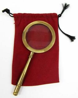"4"" BRASS MAGNIFYING GLASS HANDLE - HAND HELD MAGNIFIER BRASS"