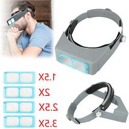 4 Lens Head Band Magnifier Optivisor Eye Loupe Watch Repair