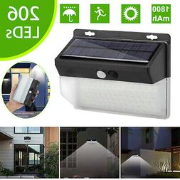 Waterproof 206 LED Solar Lamp Outdoor Garden Yard PIR Motion