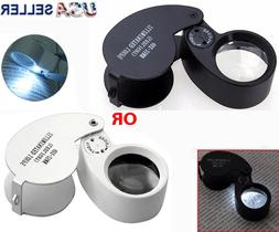 40X Magnifying Loupe Jewelry Eye Glass Magnifier LED Light J