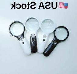 45X Handheld Magnifying Glass with 3 LED Light Magnifier Jew