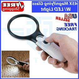 45X Magnifying Glass Handheld Magnifier 3 LED Light Reading