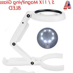 5 / 11X Magnifying Glass With Light 8 LED LAMP Magnifier Fol