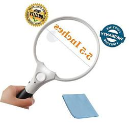 5.5 Inch Jumbo Reading Magnifying Glass with 3 LED Light for