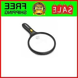 5.5 Inch Large LED Handheld 2X Magnifier with 5X Zoom