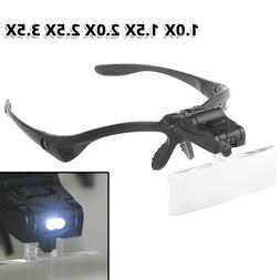 5 Lens LED Head Magnifier Hands Free Magnifying Glass for Ey