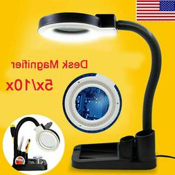 5X 10X Magnifier Magnifying Crafts Glass Desk Lamp With 40 L