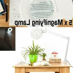 5x Desk Magnifying Lamp With Clamp Craft Glass Loupe Lab Wor