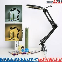 5X Desk Table Clamp Mount LED Magnifier Light Lamp Magnifyin