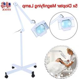 5X Diopter LED Magnifier Lamp Glass Rolling Floor Stand Faci