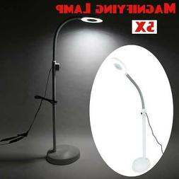 5x Diopter LED Magnifying Floor Stand Lamp Glass Lens Facial