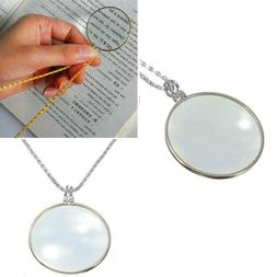 5x Magnifier Round Reading Magnifying Glass Lens Pendant Cha