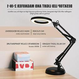5X Magnifying Glass Desk Magnifier Lamp LED Light Reading Fo