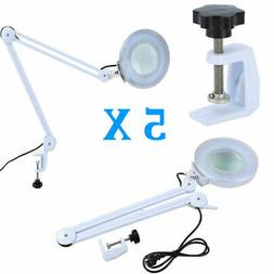 5X Swing Arm Mount Magnifier Desk Table Clamp Lamp Light Mag