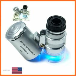 60X Handheld Pocket Microscope Loupe Jeweler Magnifier Lens
