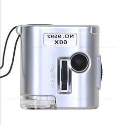 60X Zoom LED Microscope Mini Magnifier with LED Light - Ligh
