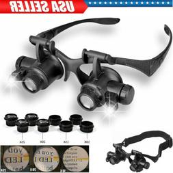 8 Lens Jewelry Watch Repair Magnifier Double Eye Loupe Glass