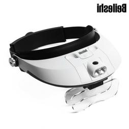 detachable 2 led headband magnifier adjustable