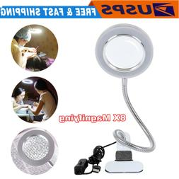 8X Magnifying Desk Table Top Clamp Lamp Large Glass Lens USB
