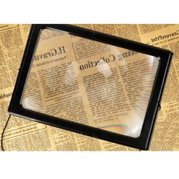 A4 Full Page Stand Magnifying Glass Sheet with LED Light Rea
