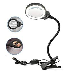 MORDUEDDE Desk Magnifier Glass Lamp with LED Light Stand 3X