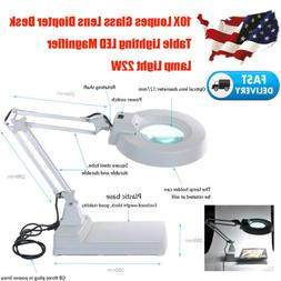 Desktop LED Magnifier Lamp Light Magnifying Glass Lens 10X L