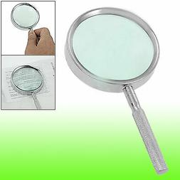 uxcell 65mm Dia Lens Silver Tone Grip Hand Held 6X Metal Magnifying Glass