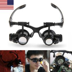 Double Eye Jewelry Watch Repair Magnifier Loupe Glasses W/ 2