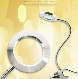 Flexible 6X Magnifying Glass Clip On Lamp Glass Magnifier Su