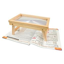 Reizen Foldable Hands Free Magnifier with Wooden Frame Table