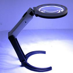 Foldable LED Lighted Magnifying Lamp Reading 2.5X-8X Magnifi