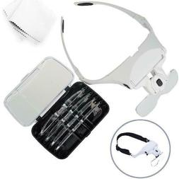 Glam Hobby h6902B Head Mount Magnifier with LED Head Light B
