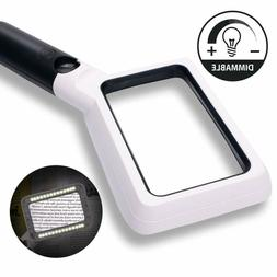 Hand Held Reading Magnifying Glass with Light, 2X 20X Large