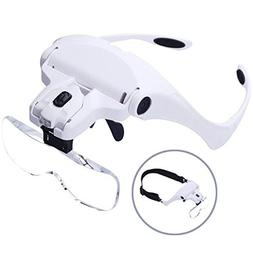 Head Magnifier Glasses, Head Mount Magnifying Glasses with L