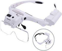 Yoctosun Head Magnifier With 5 Led Lights, Hands Free Headba